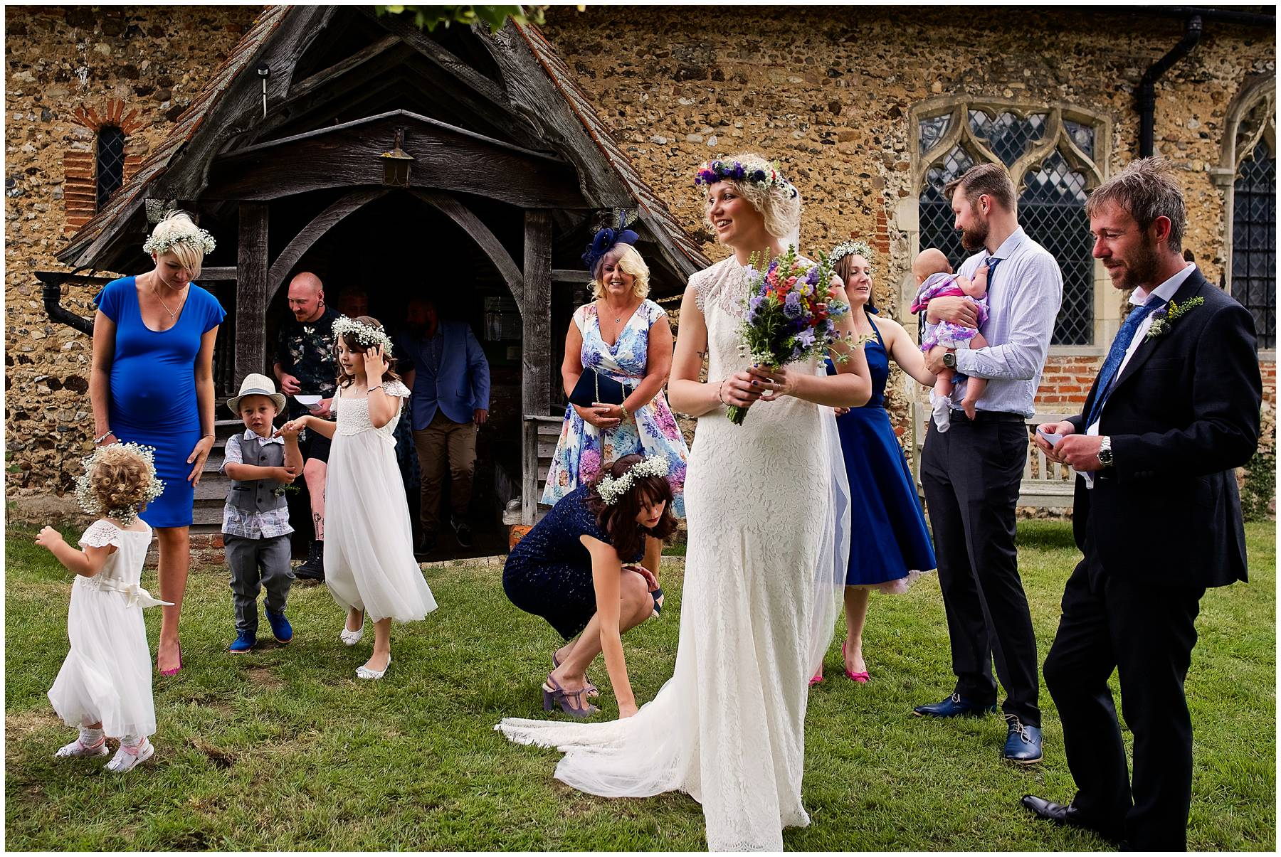 Festival bride at church wedding in Essex