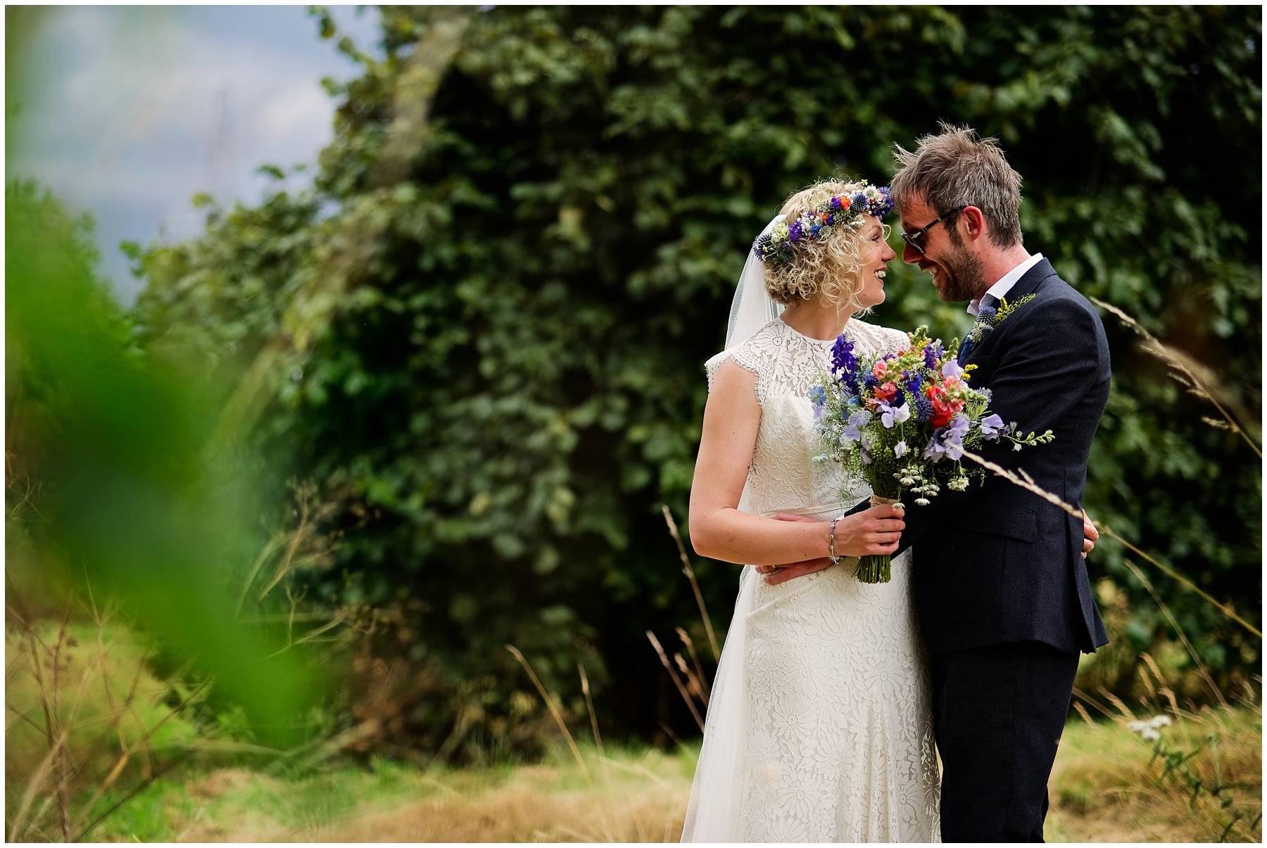Natural bride and groom portrait in Essex