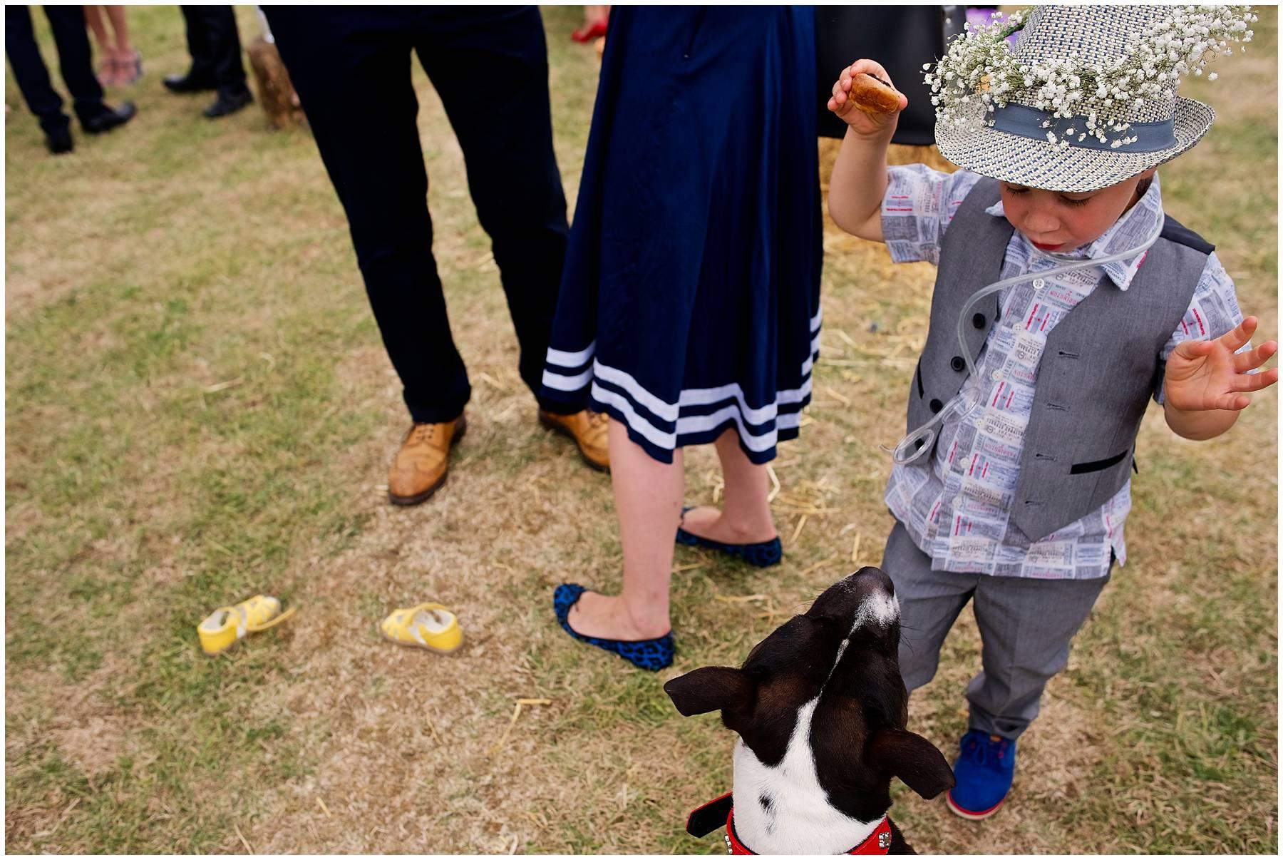cute kid at outdoor wedding in Essex