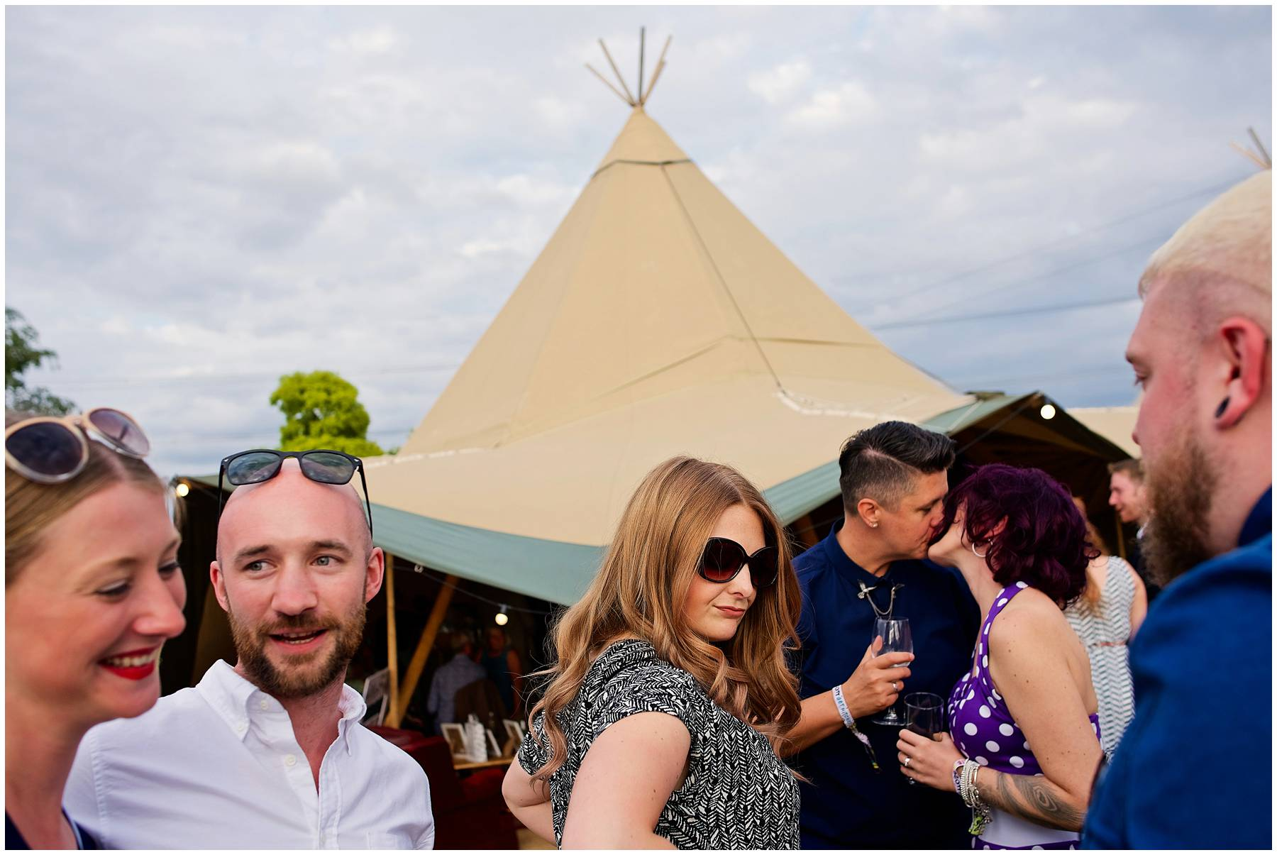 Guests at festival wedding in Essex