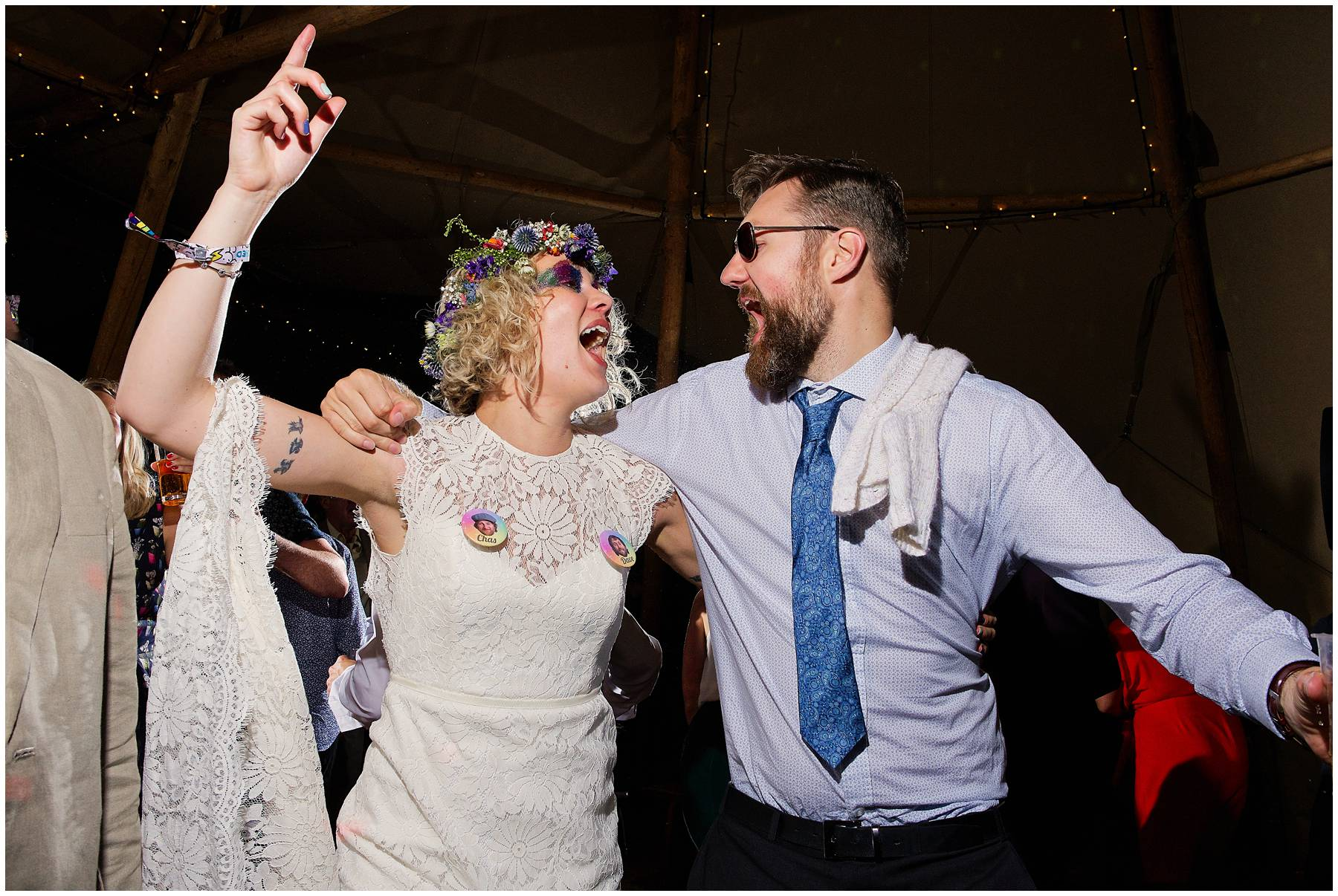 Bride and her brother dancing