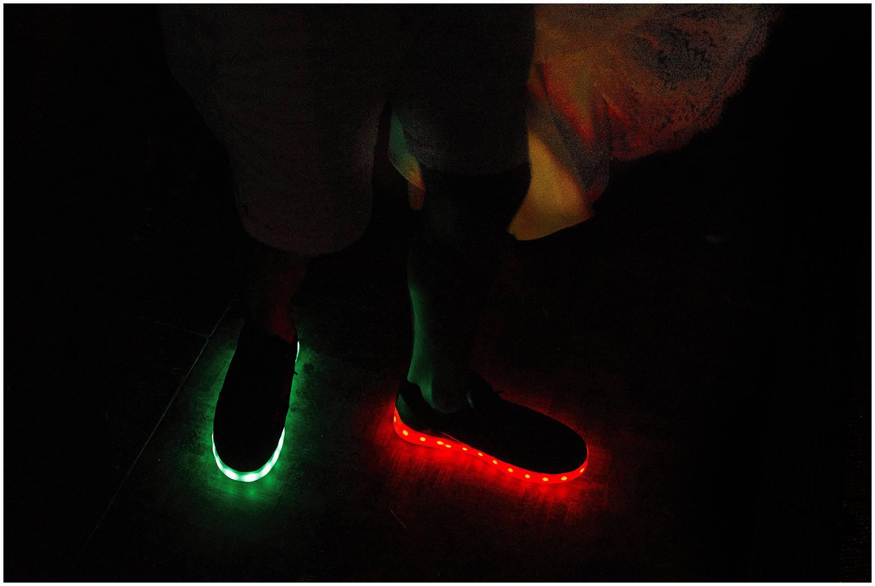 Neon light shoes at Essex Wedding