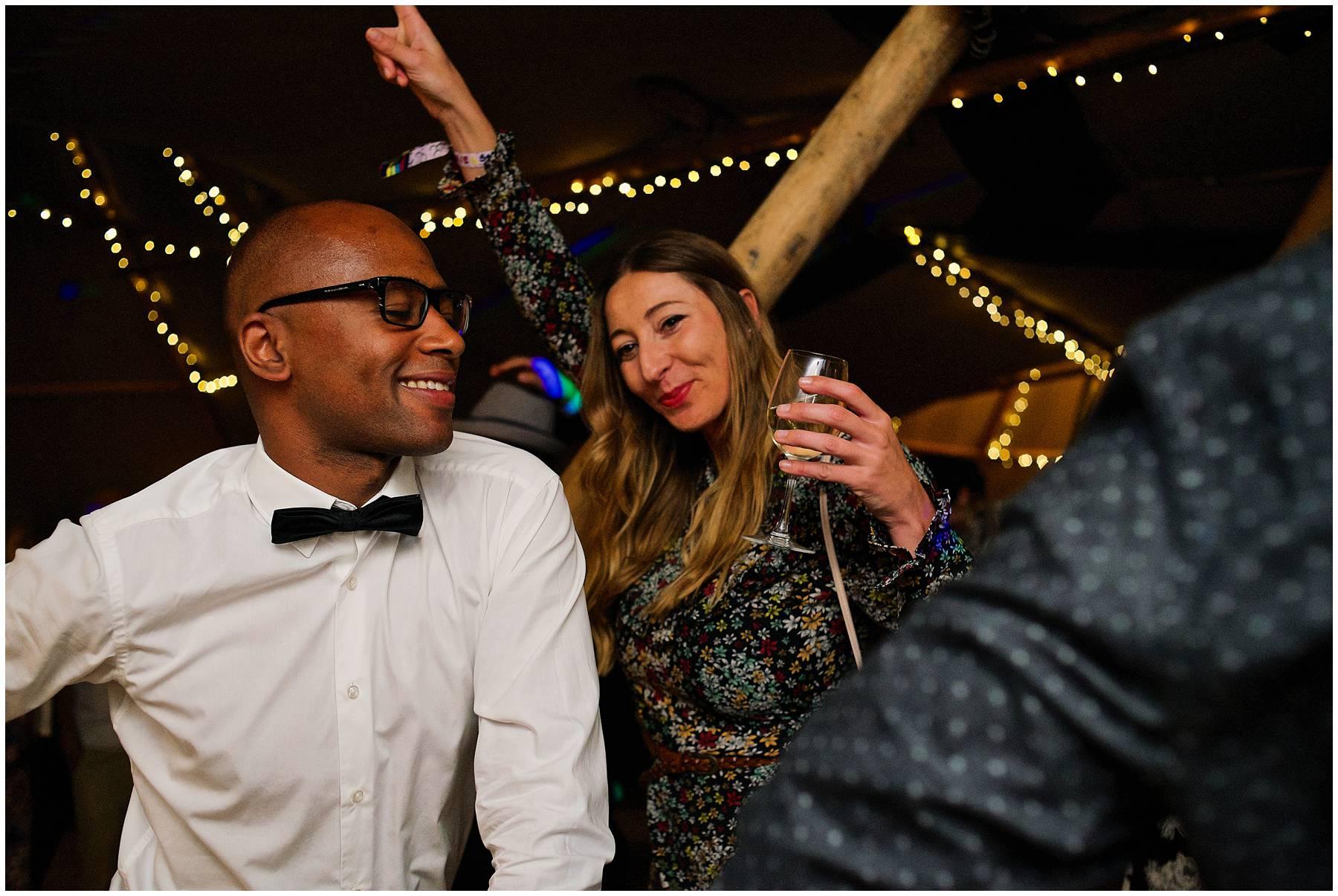 dance floor action at Essex tipi wedding