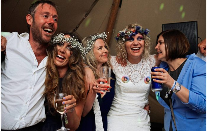 Guests dancing at festival wedding in Essex