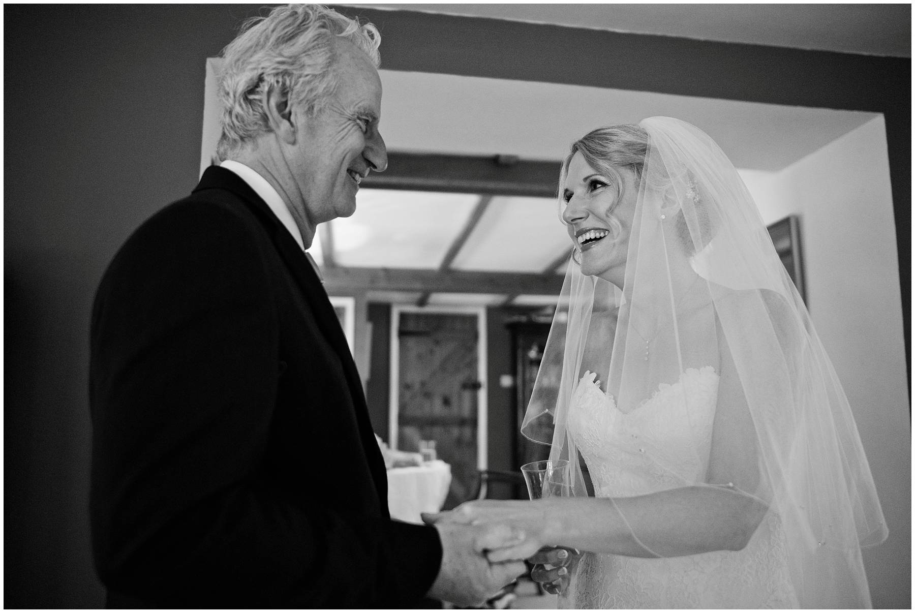 Bride and her father share a moment at Somerset wedding