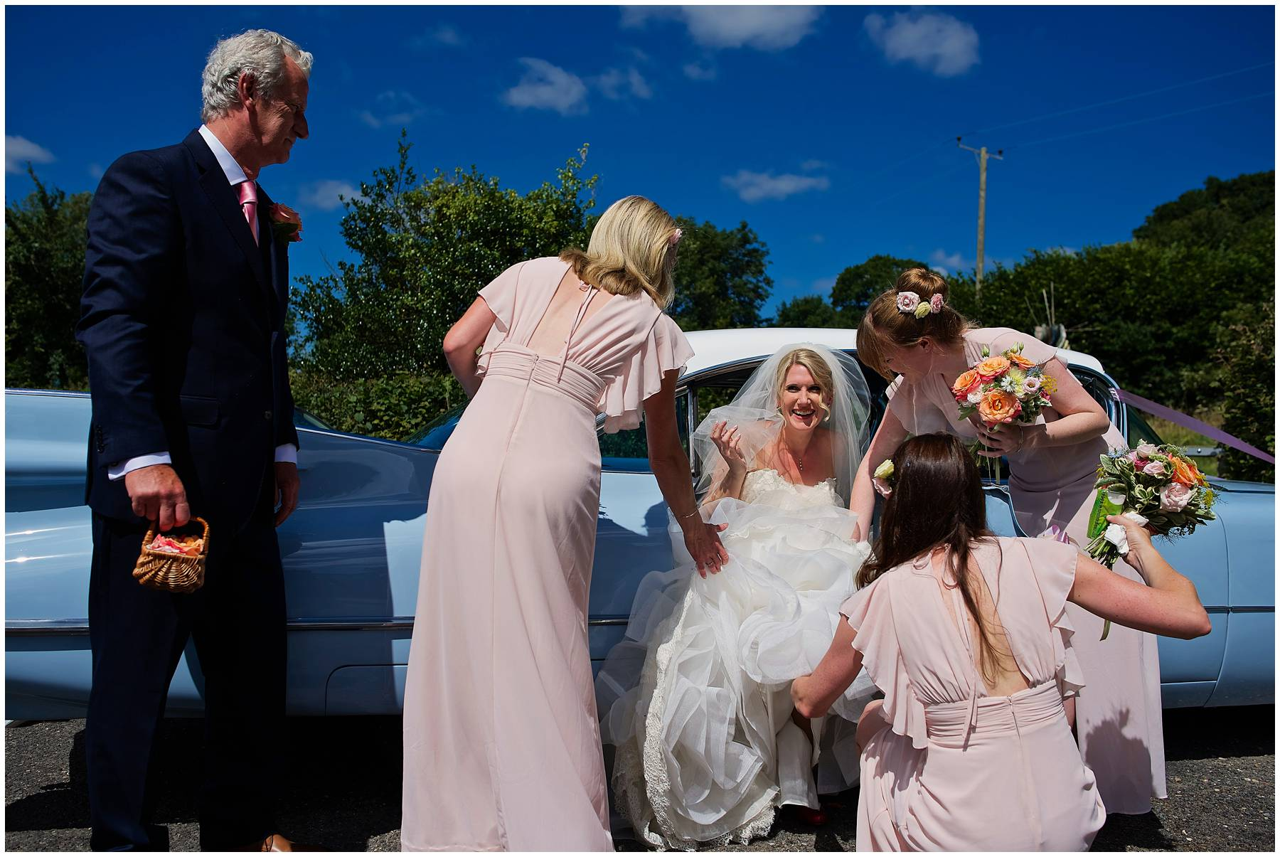 Bride arriving at St Michael's Church, Chaffcombe