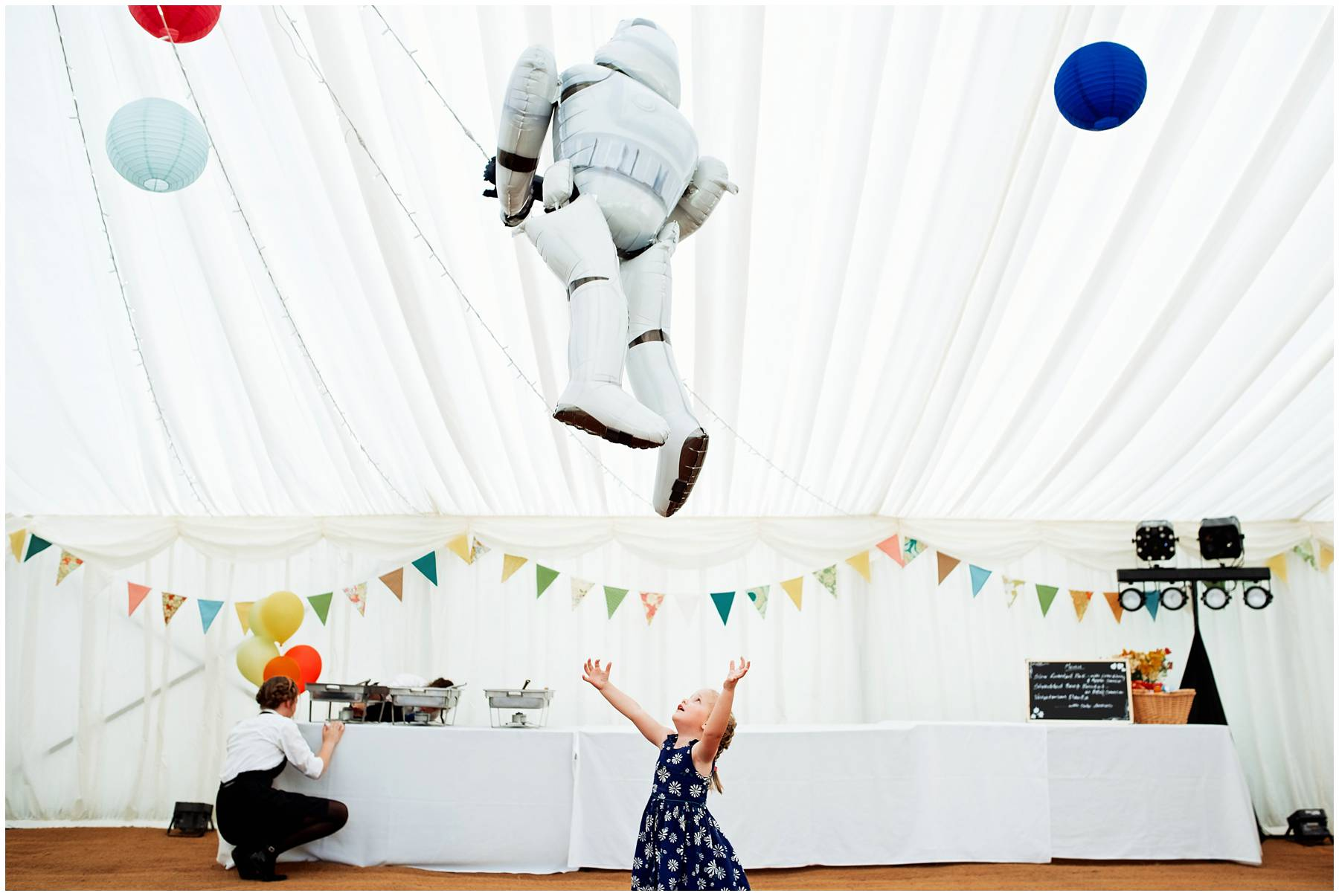 Storm Trooper balloon at a wedding