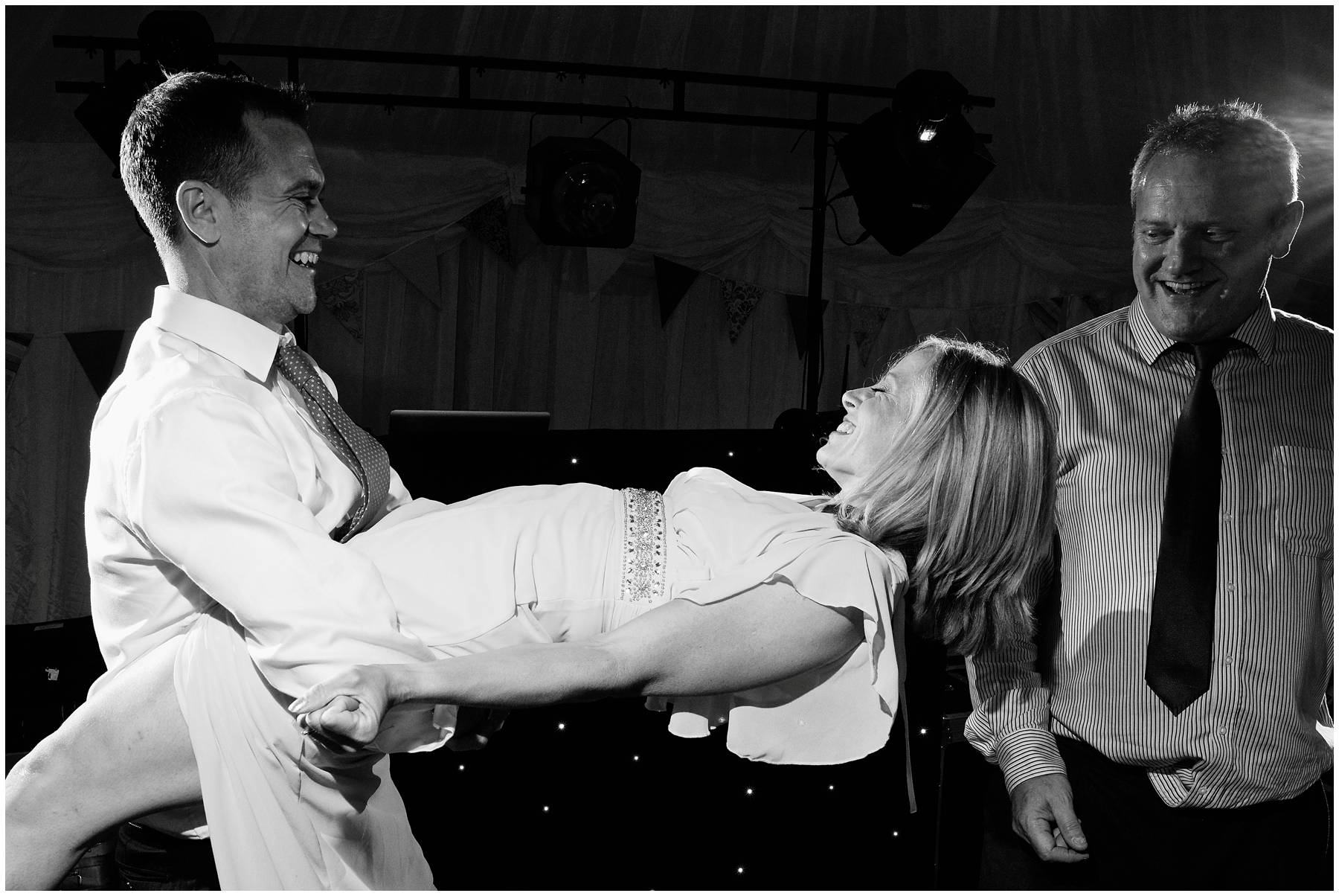 Guests dancing at marquee wedding in Somerset
