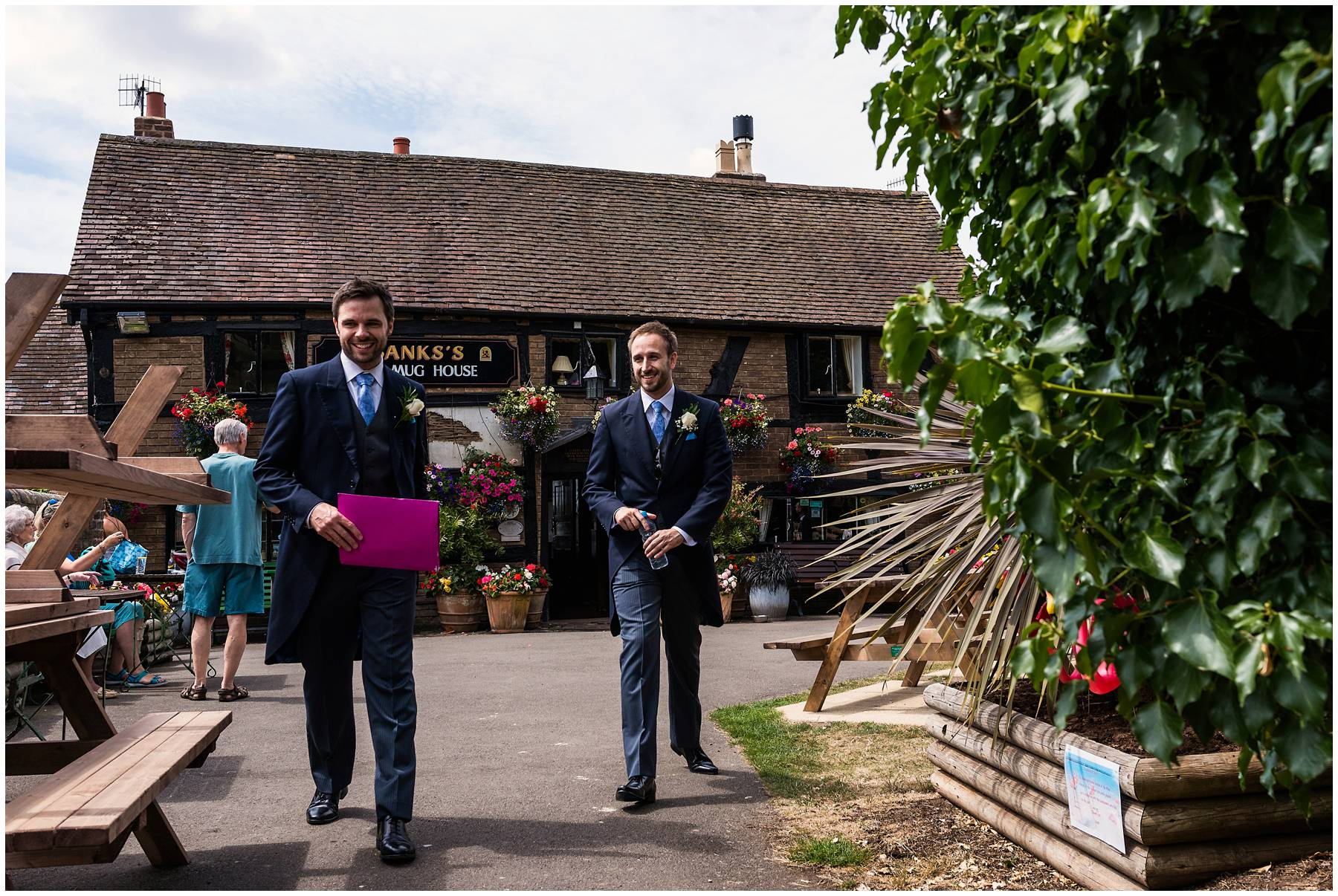 Groom outside the Mug House Pub, Worcestershire
