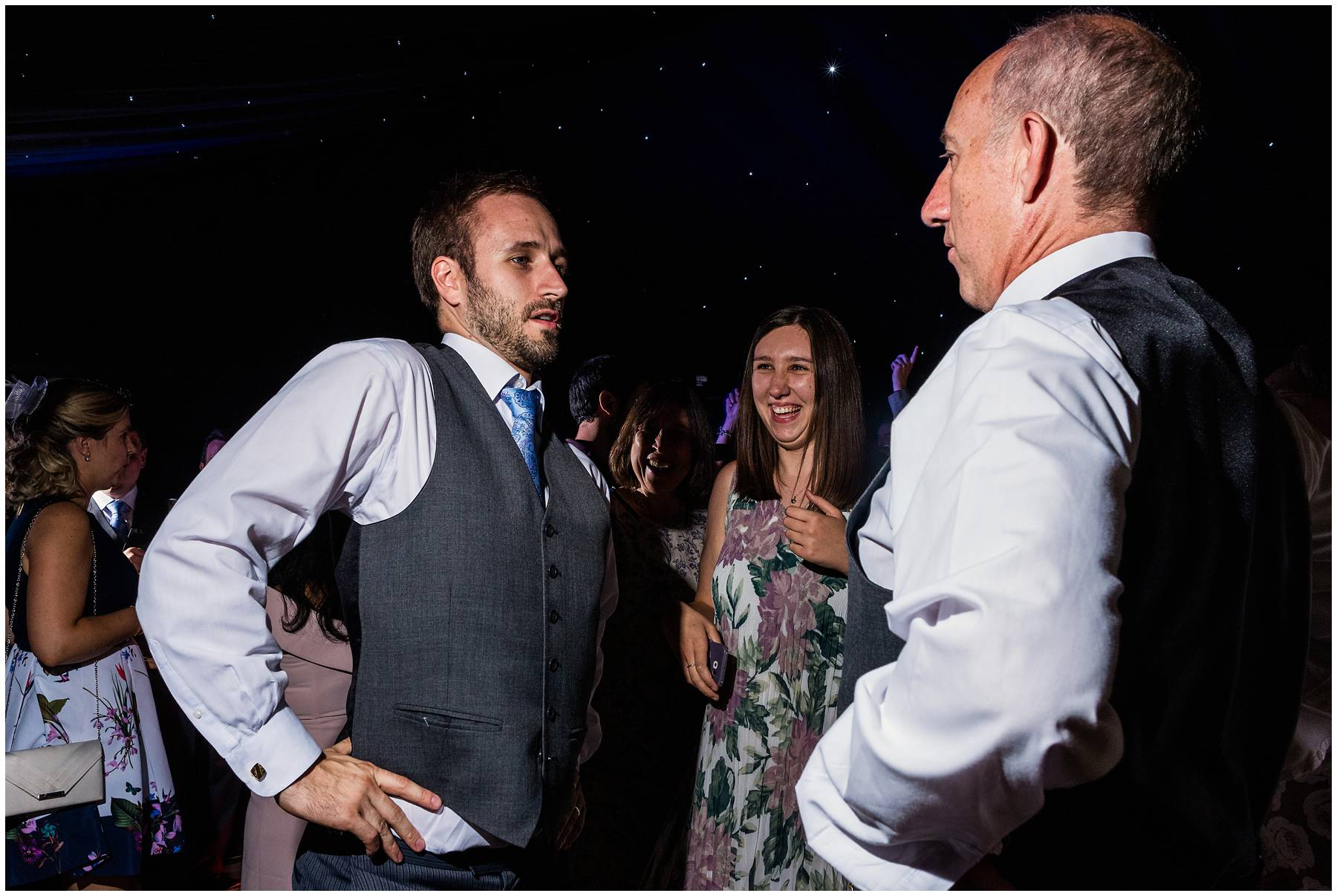 Groom and his dad dancing at Worcestershire Wedding