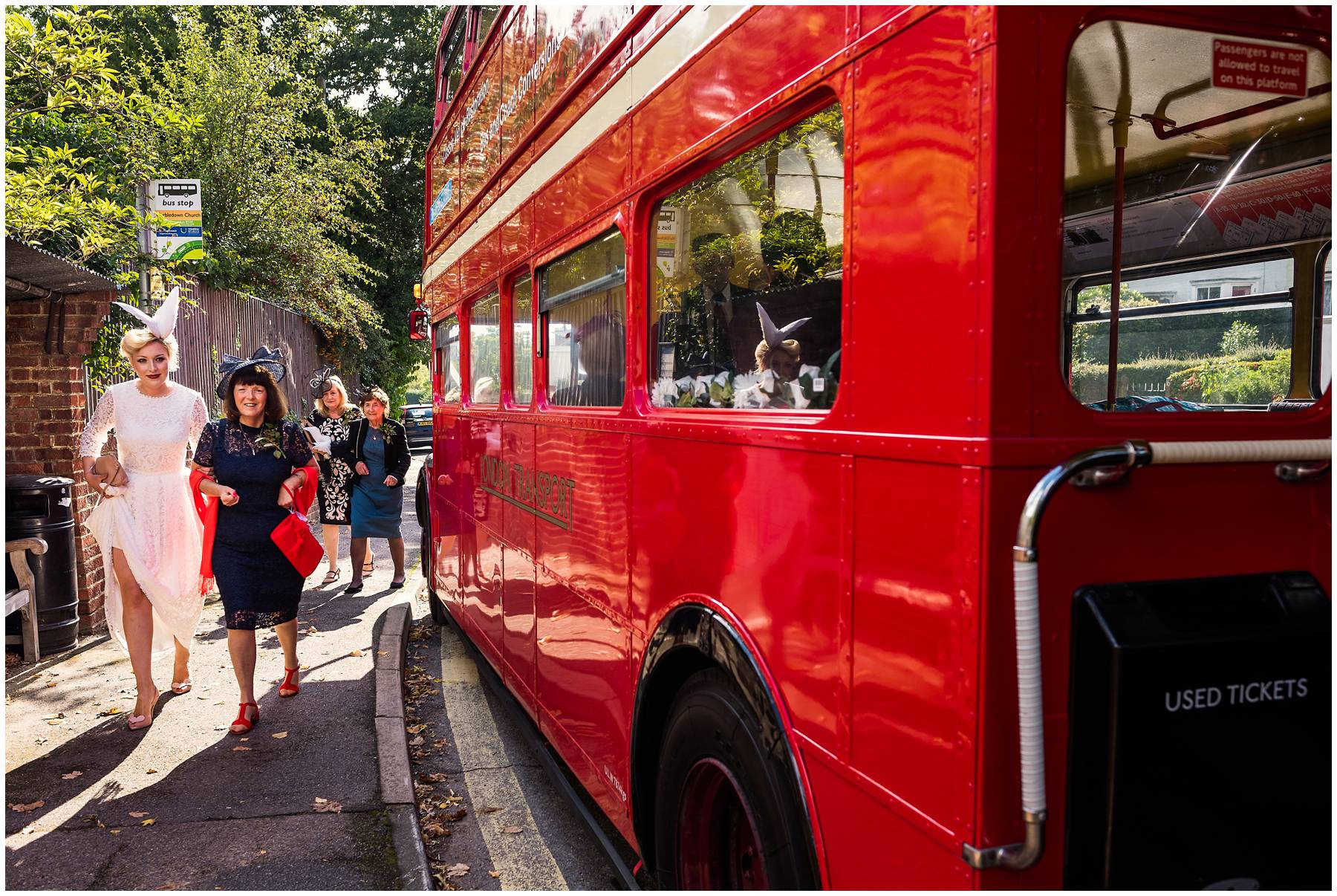 Documentary Wedding Photography on a red bus