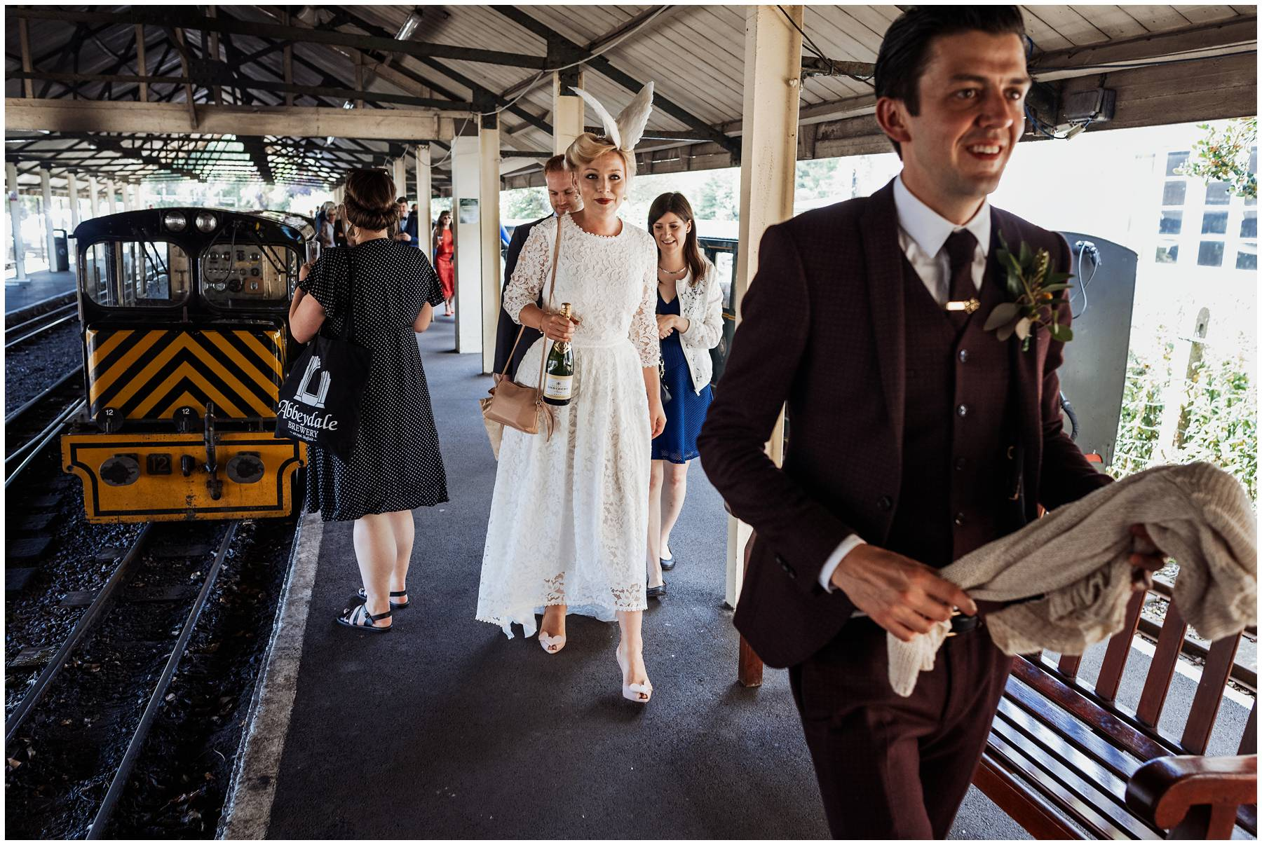 Reportage Wedding Photography on a miniature train