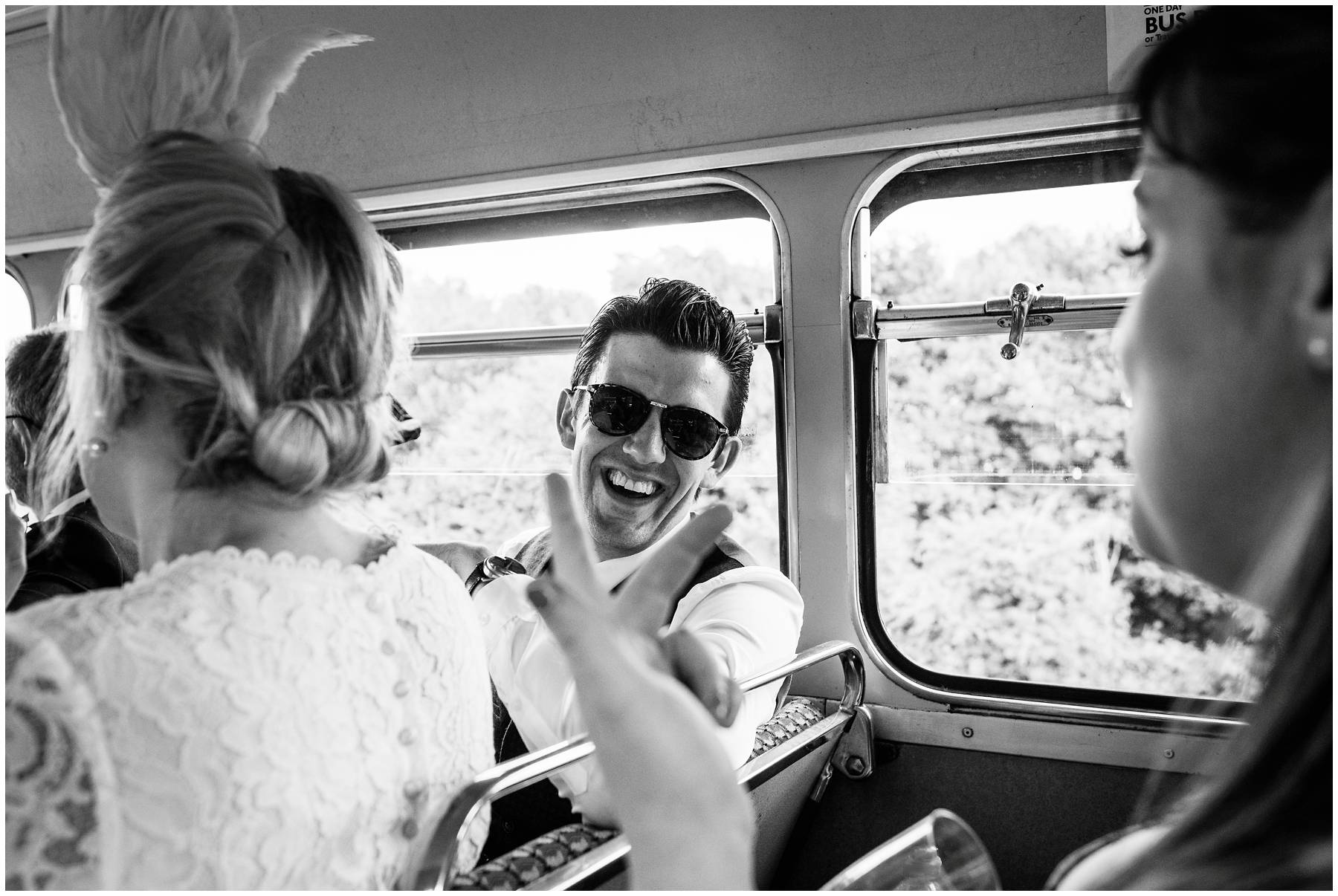 Reportage Wedding Photography on a Kent routemaster