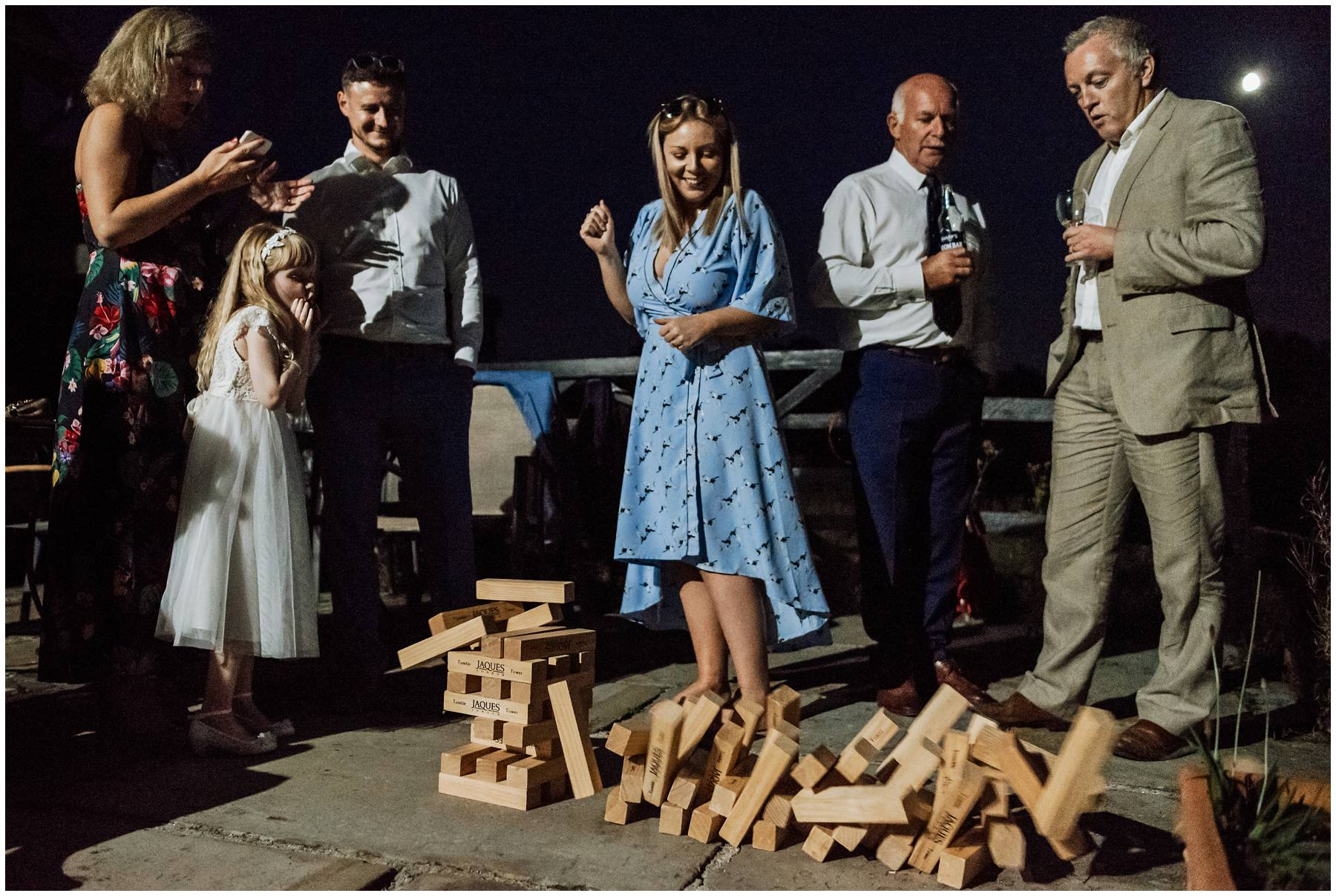 Dungeness wedding guests playing jenga